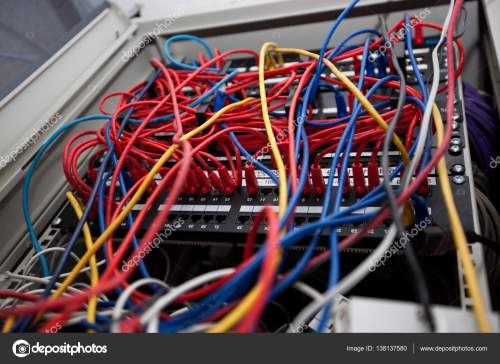 small resolution of close up view of tangled wires in server room at television station photo by londondeposit