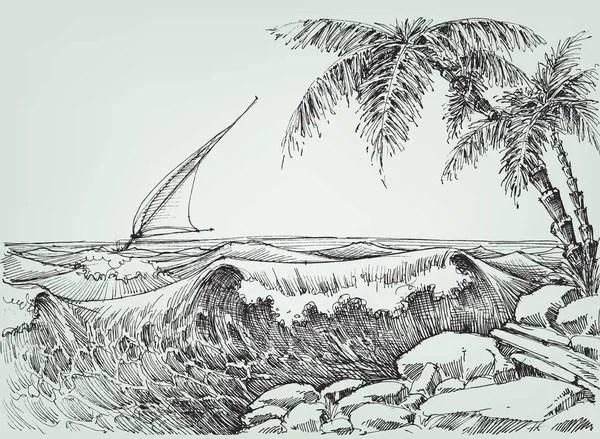 Vista mare dallo schizzo spiaggia  Vettoriali Stock