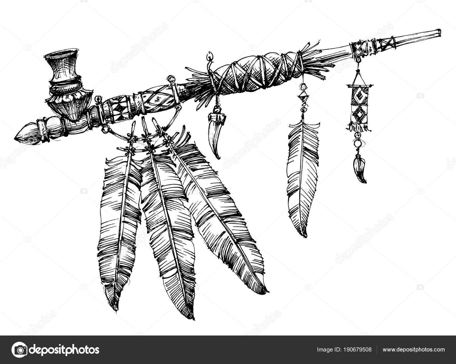 Tubería de dibujo de la paz. Ceremonial tubería nativa