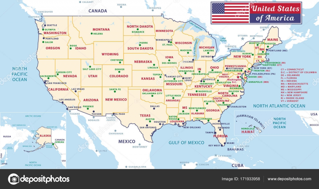 Picture The United States Map With Capitals States Capitals Of The United States Of America Beautiful Modern Graphic Vector Usa Map Alaska And Hawa Pastel Tones Stock Vector C Albachiaraa 171933958