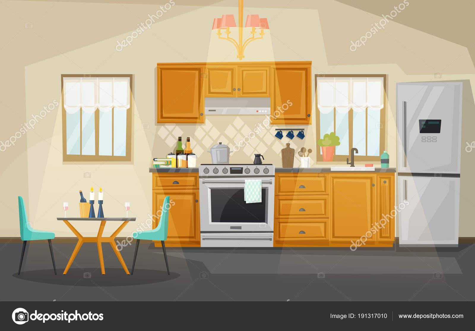 kitchen fan cover lights for under cabinets 厨房内饰视图 冰箱 烤箱 餐具 图库矢量图像 c cookamoto 191317010 厨房内饰 有炉子或烤箱的水壶 排气罩或风扇 桌子上有蜡烛和椅子 冰箱或冰箱 厨房的内部视图与用具