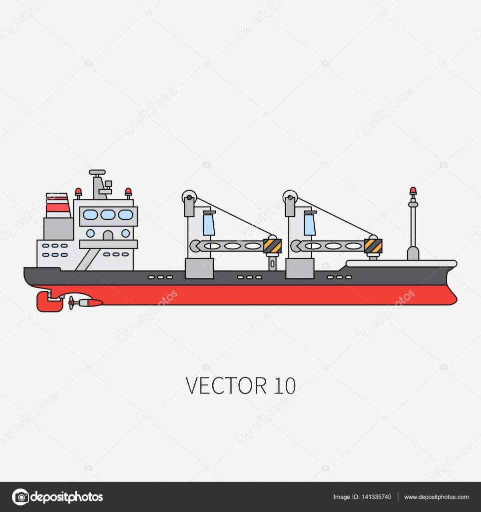 hight resolution of line flat vector color icon container cargo ship merchant fleet cartoon vintage style