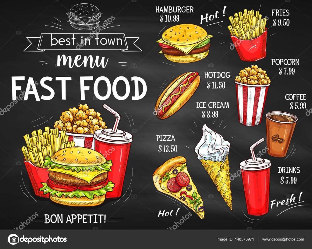 Fast Food Restaurant Menu Schoolbord Ontwerp