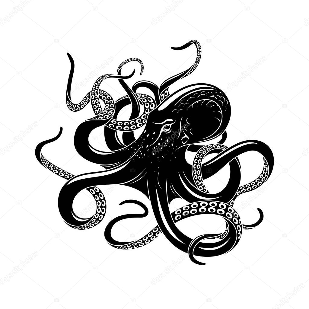 Icona Di Polpo Per Progettazione Del Tatuaggio Di Mare