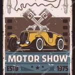 Motor Show Car Race Retro Poster Vector Vintage Cars Retro Vector Image By C Seamartini Vector Stock 352471632