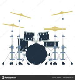 drum set icon flat color design vector illustration stock vector [ 1600 x 1700 Pixel ]