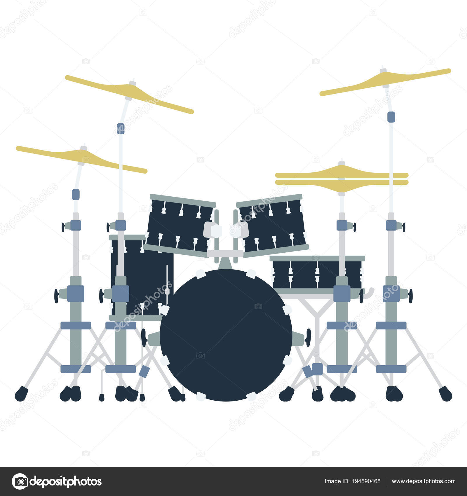 hight resolution of drum set icon flat color design vector illustration stock vector