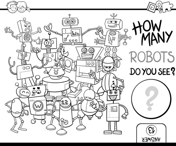 Robots group cartoon coloring page — Stock Vector