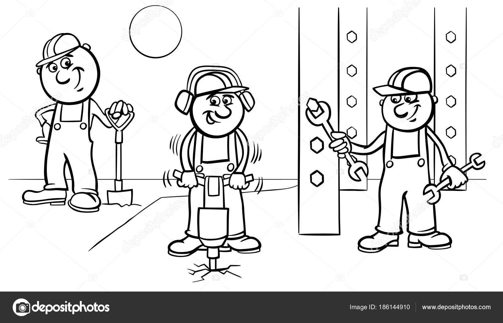 Arbeiter oder Bauherren an Arbeit Farbbuch — Stockvektor