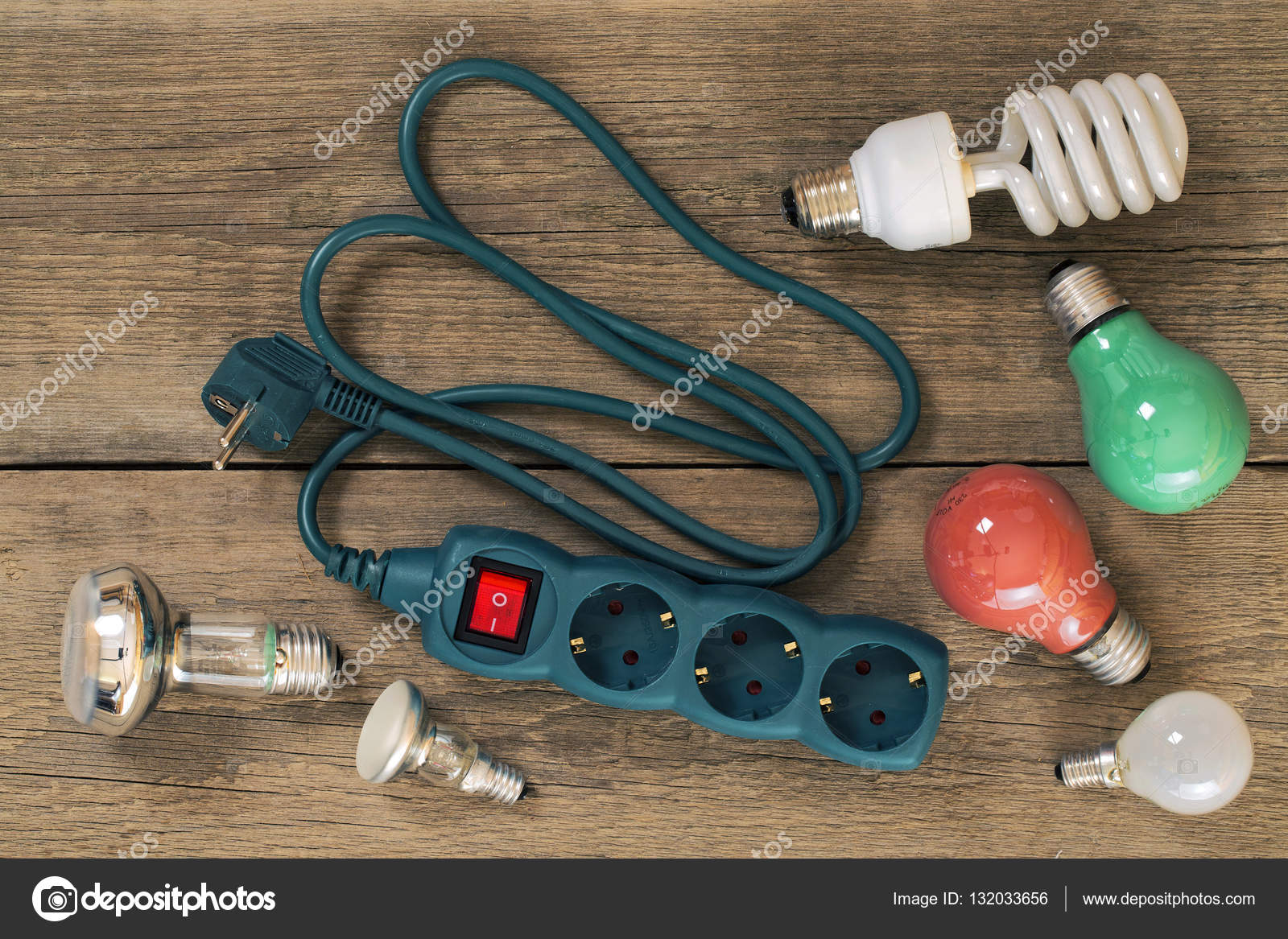 hight resolution of various lamps and multi outlet extension cord stock photo