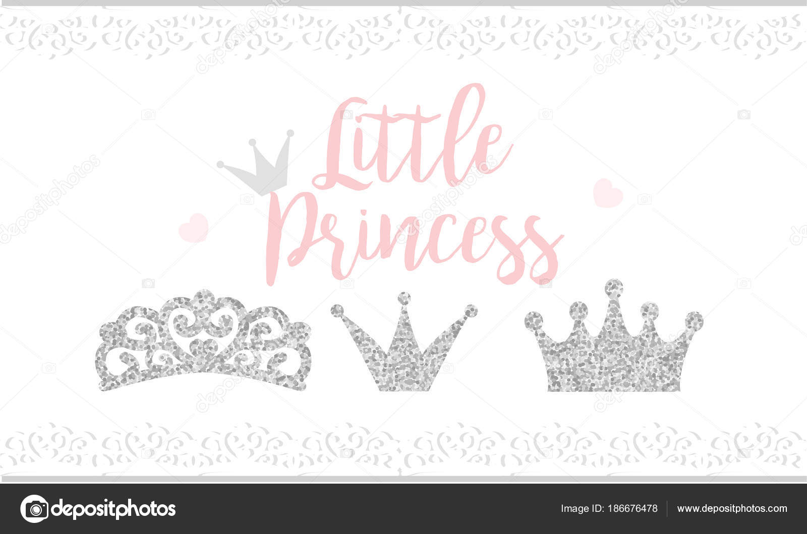 Pink Text Little Princess White Background Lace Cute