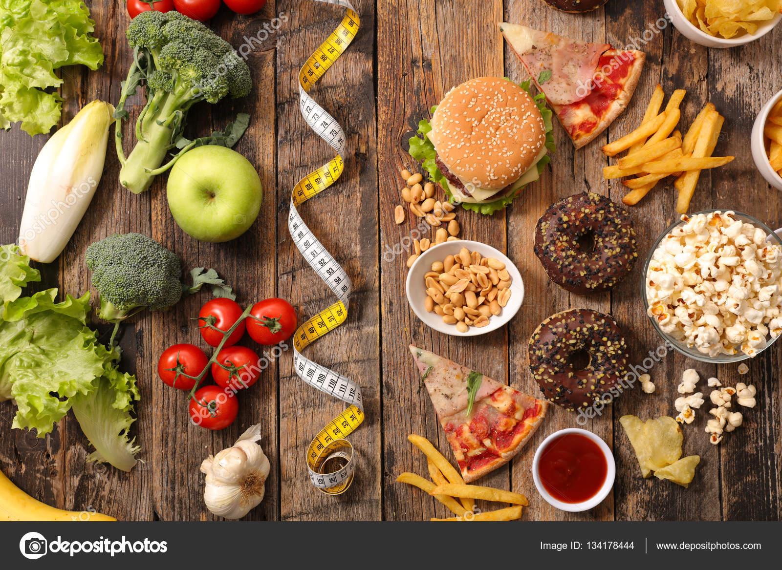 Foto comida sana  comida sana o comida chatarra  Foto