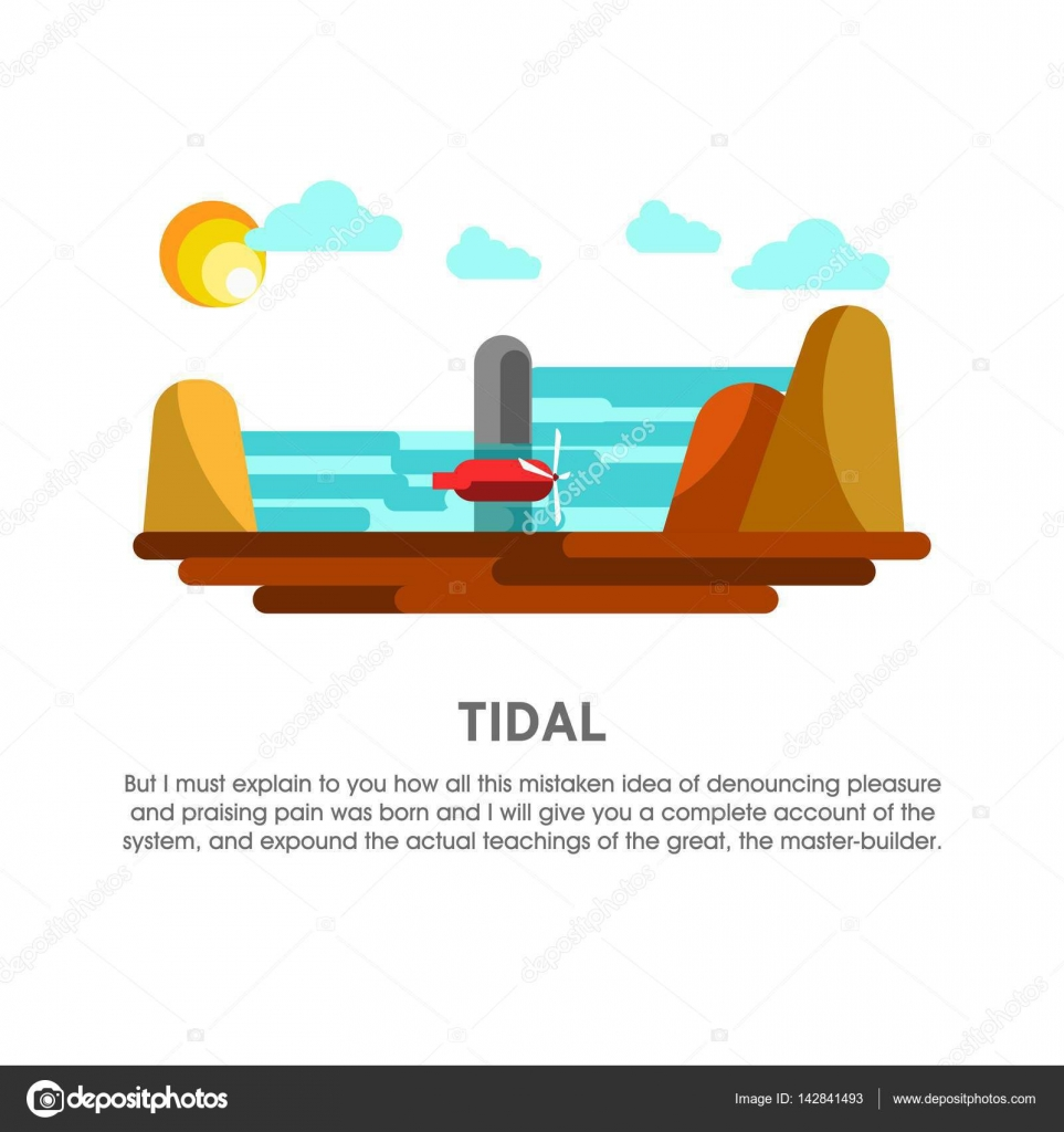 hight resolution of tidal power station stock vector