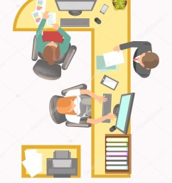 office manager work place layout agency secretary department or company reception table and desk with fax paper folder computer or telephone and director  [ 772 x 1024 Pixel ]