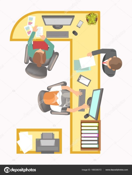 small resolution of office manager work place layout agency secretary department or company reception table and desk with fax paper folder computer or telephone and director