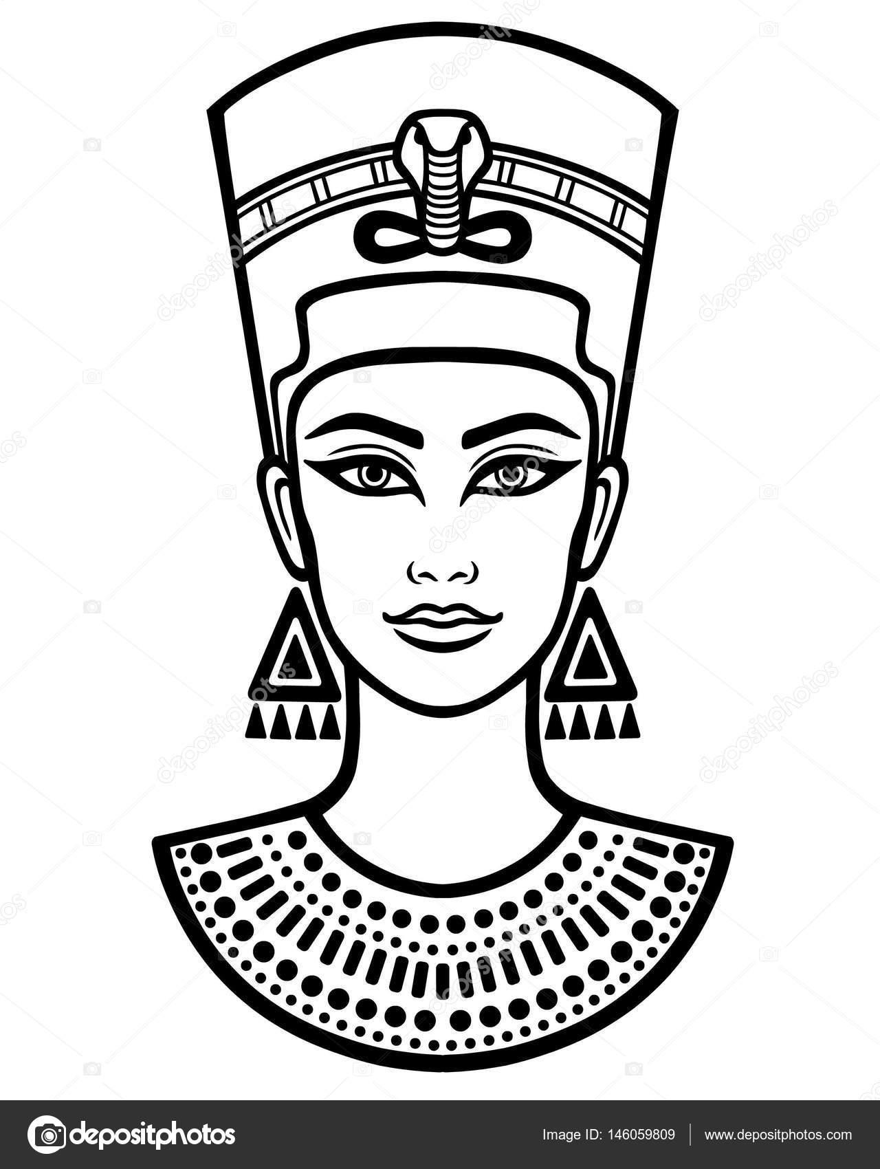 Animation portrait of the beautiful Egyptian woman. Black