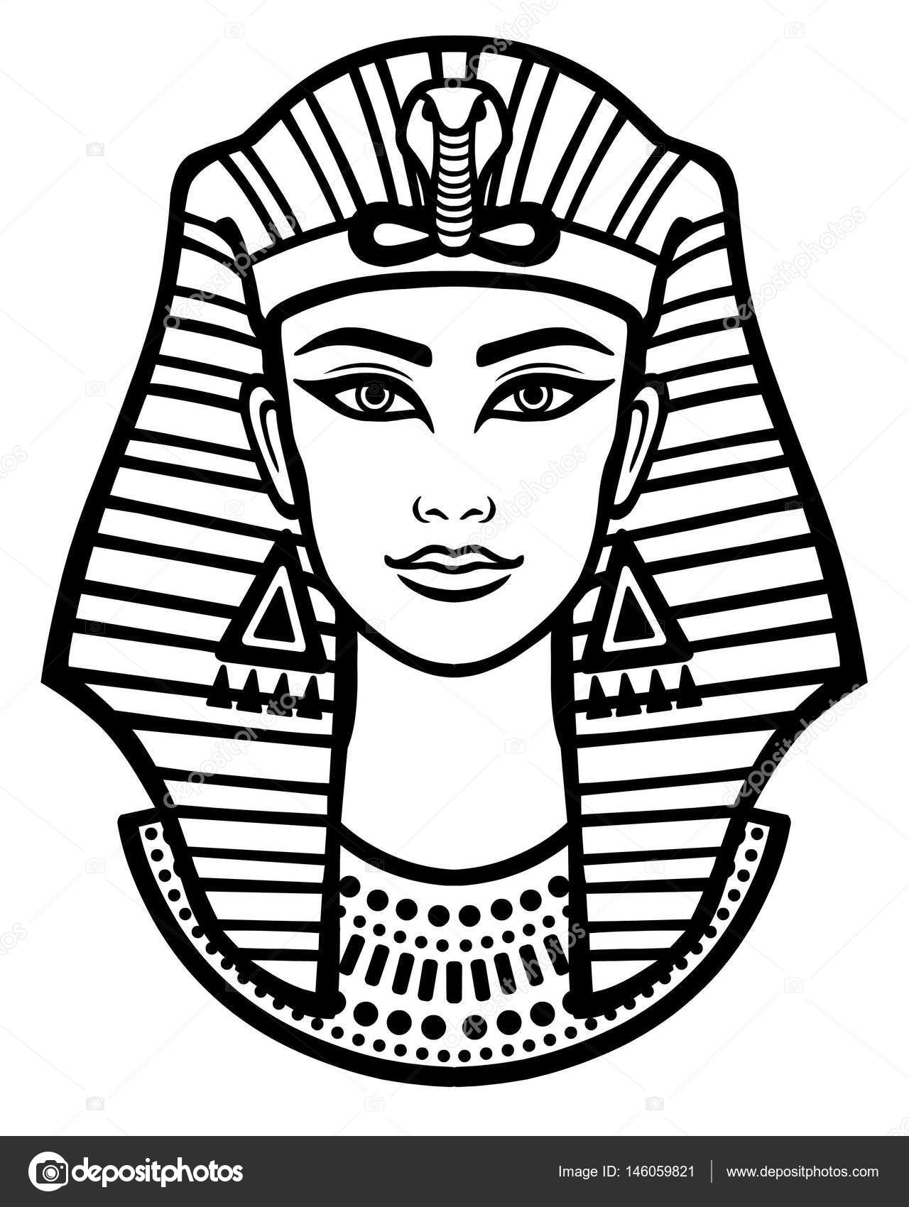 Animation Portrait Of The Beautiful Egyptian Woman Black