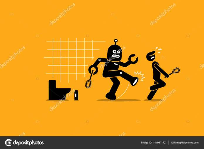 Robot cleaner kicks away a human janitor worker from doing his cleaning job at toilet. — Stock Vector
