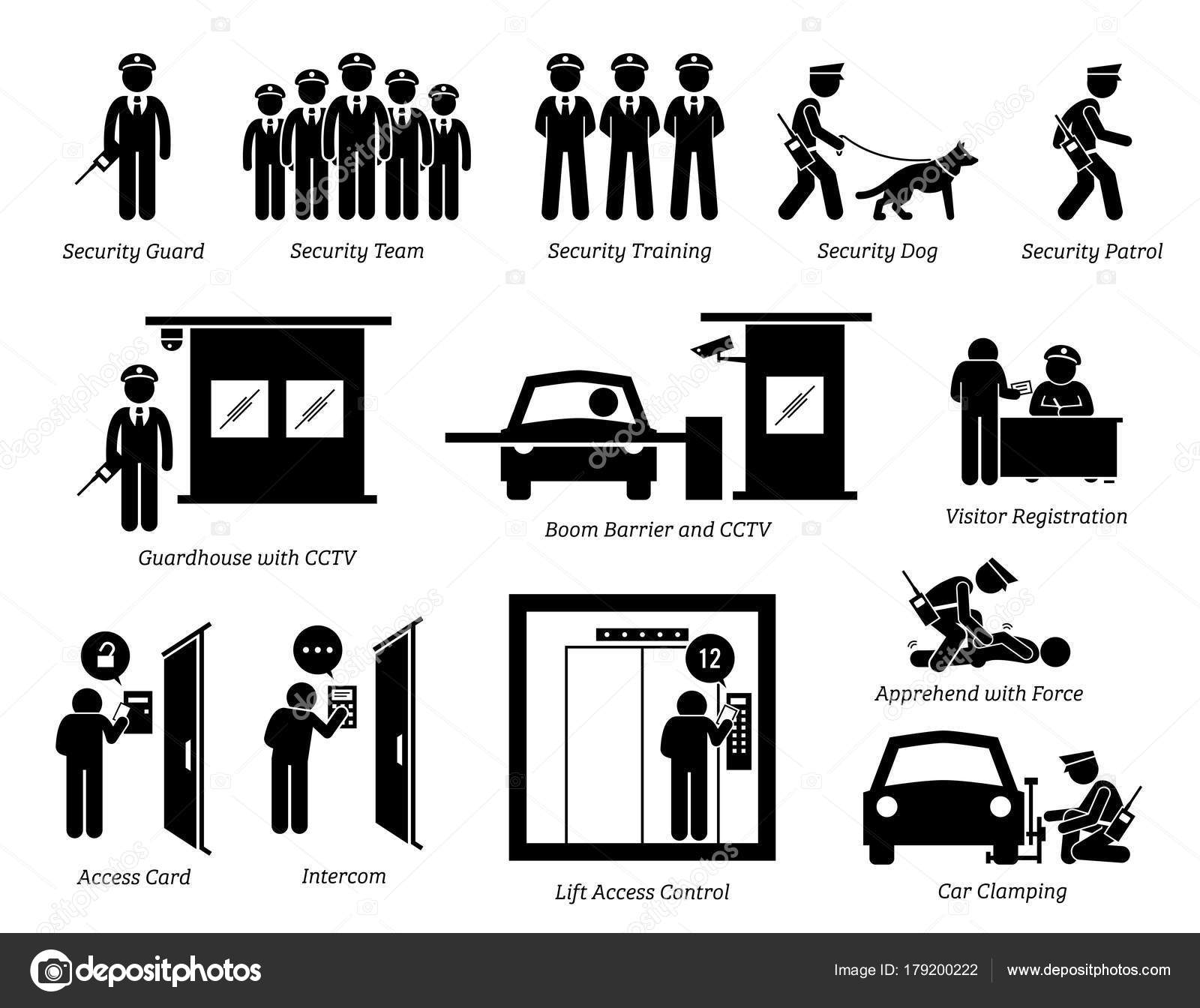 Security Guards Icons Stick Figures Depict Security Guard