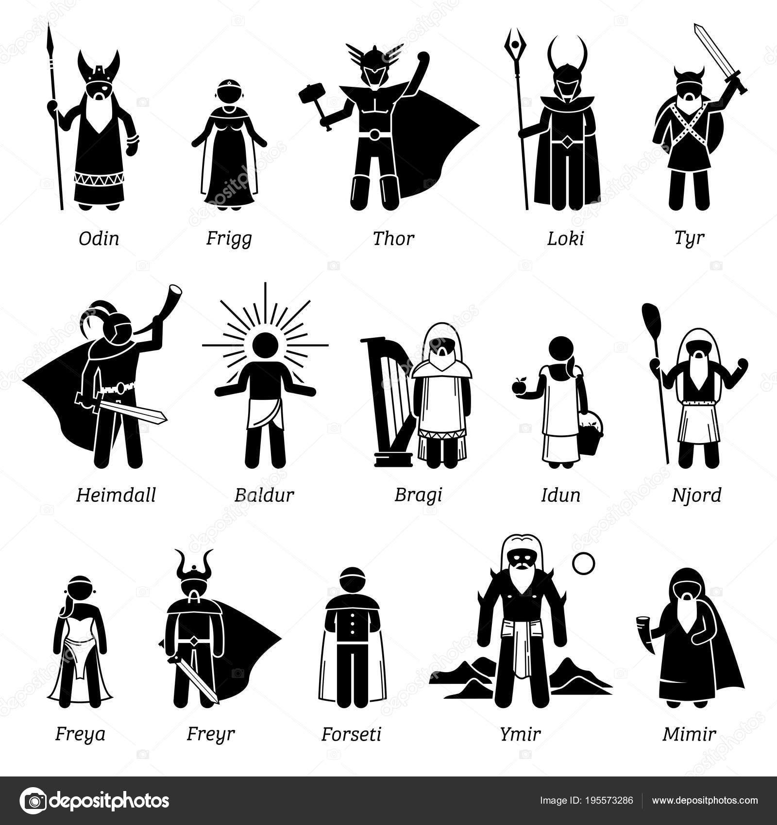 Nordische Mythologie Gotter Und Gottinnen Zeichen Icon Set