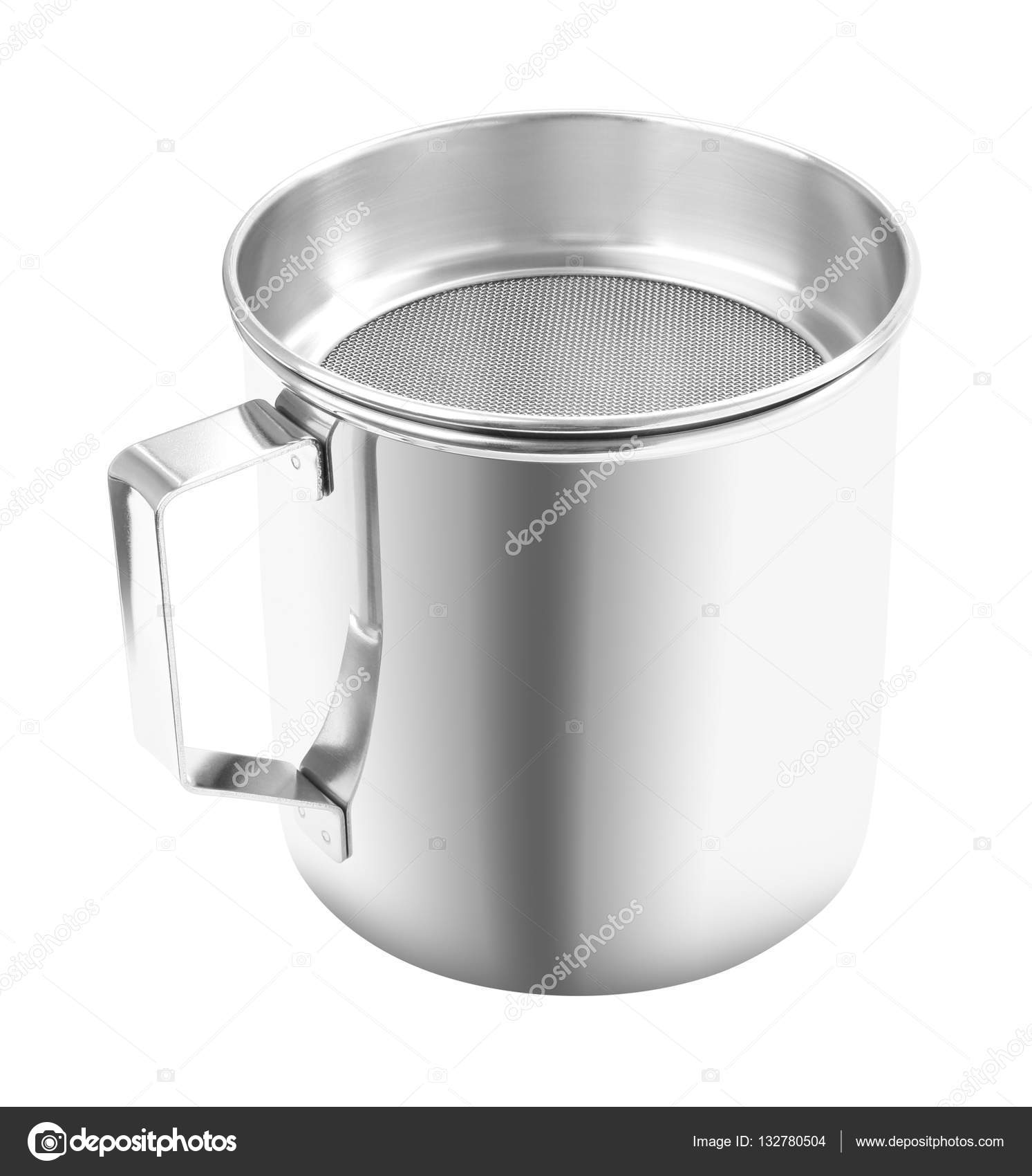 kitchen gutter industrial cart upper handle open stainless cup with filter on white background stock photo