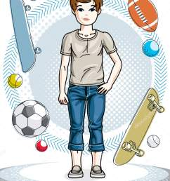 cute happy young teen boy posing wearing fashionable casual clothes vector character fashion theme clipart vector by ostapius [ 1297 x 1700 Pixel ]