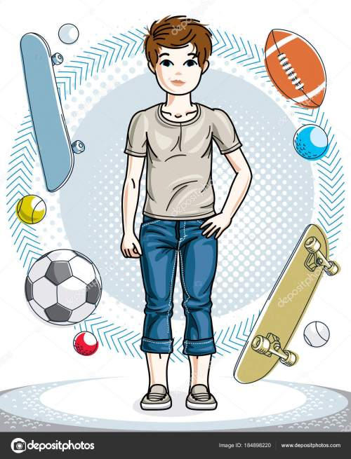small resolution of cute happy young teen boy posing wearing fashionable casual clothes vector character fashion theme clipart vector by ostapius