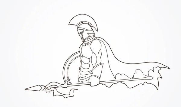 Mascotte greca vettoriale Troia spartano con lancia e