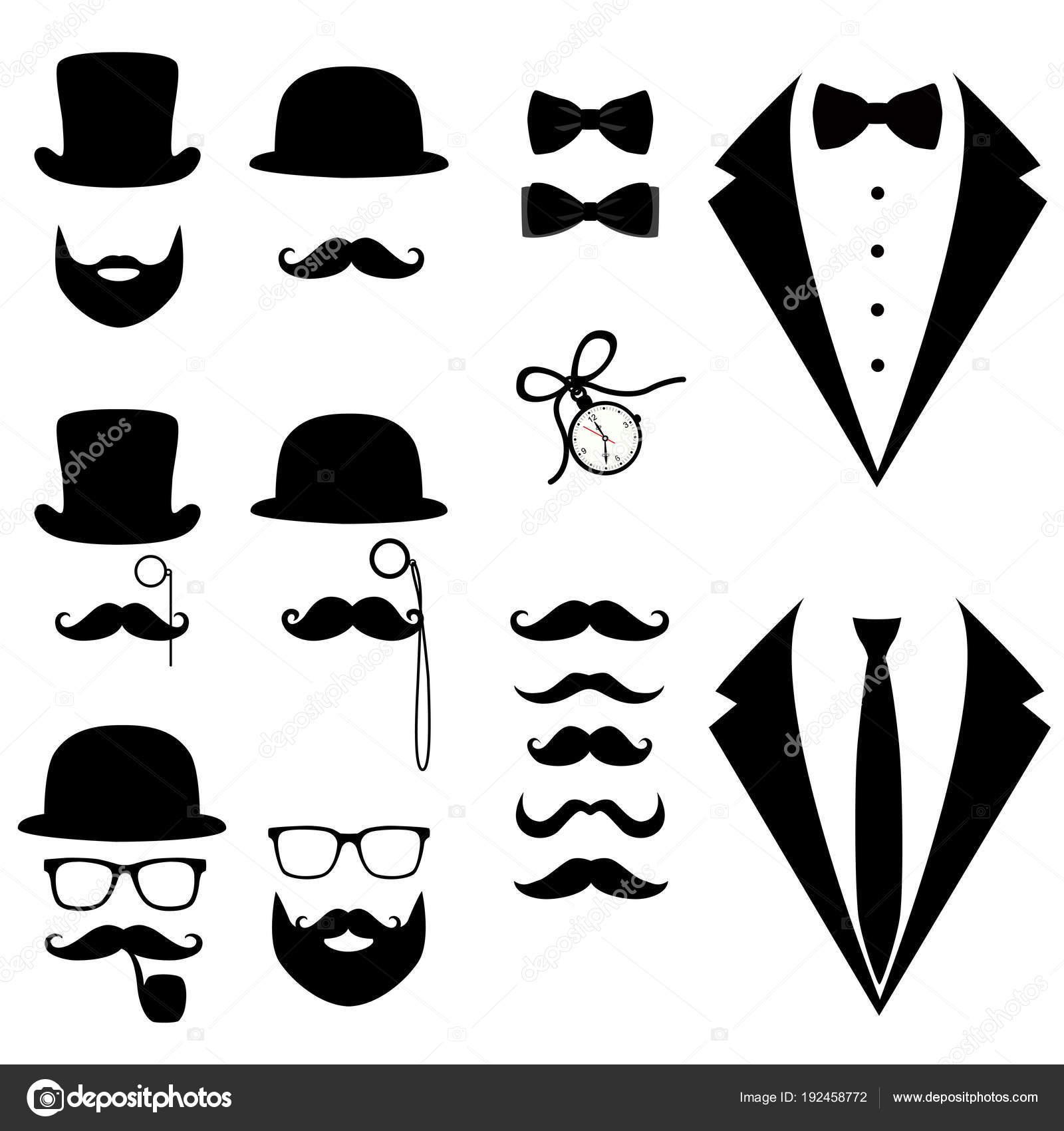 Esmoquin Los Hombres De Bigote Gafas Barba Pipa Y