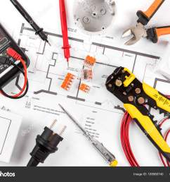 electrical tools and equipment on wiring diagram top view u2014 stockelectrical tools and equipment on [ 1600 x 1167 Pixel ]