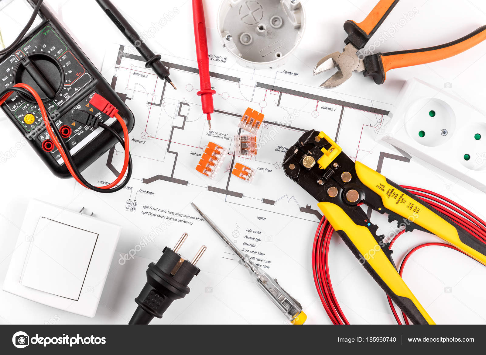 hight resolution of electrical tools and equipment on wiring diagram top view u2014 stockelectrical tools and equipment on