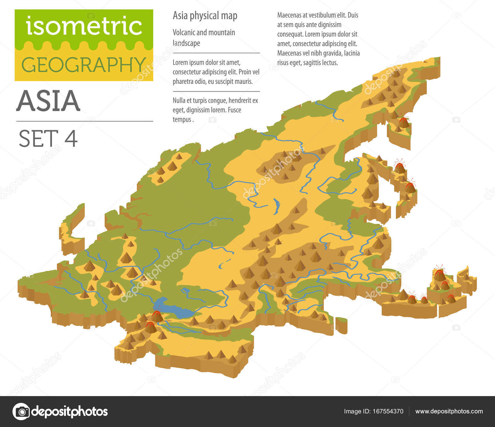 Isometric 3d Asia Physical Map Constructor Elements