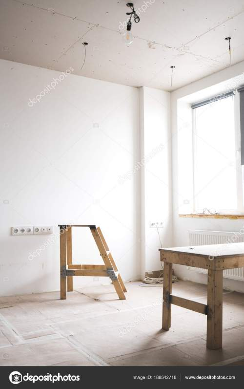 small resolution of two wooden ladders in a white interior bright room with fresh plastered walls wiring and working with electricity in the house photo by shuterdima