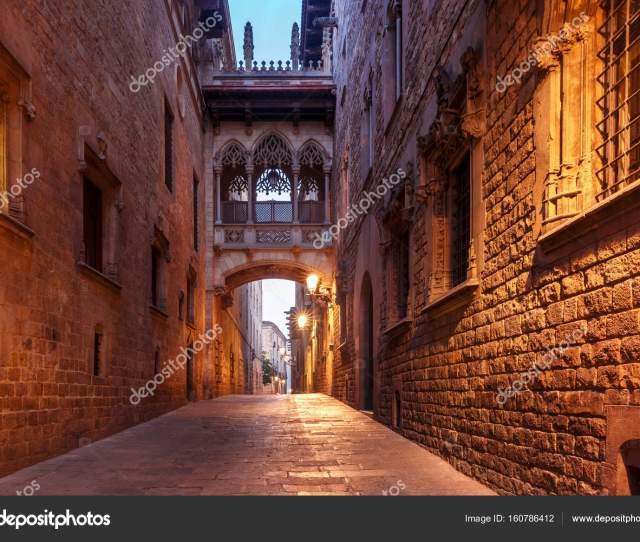 Carrer Del Bisbe In Gothic Quarter Barcelona Stock Photo
