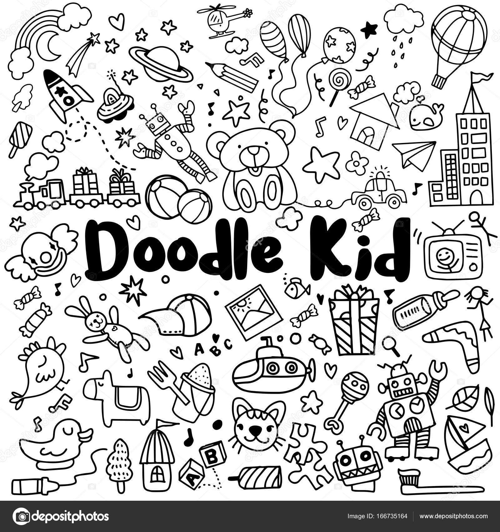 Ninos Dibujados A Mano Doodle Conjunto Estilo Doodle