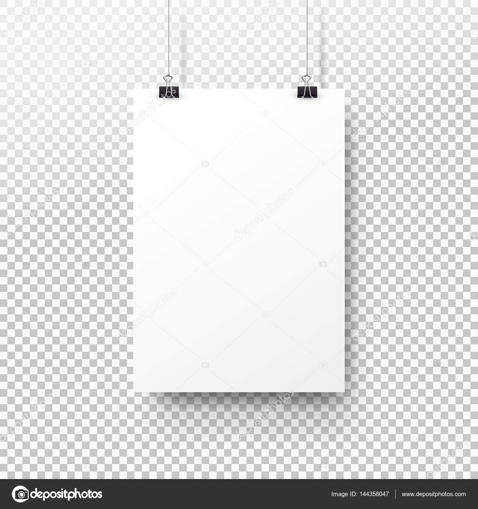White poster hanging on binder. Transparent background