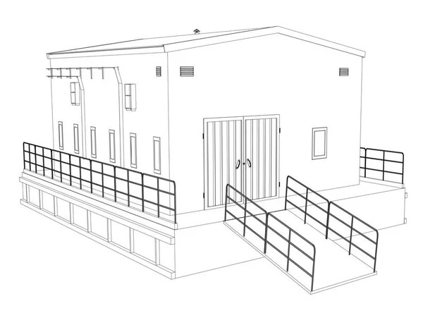 Building perspective 3D. Drawing of the suburban house