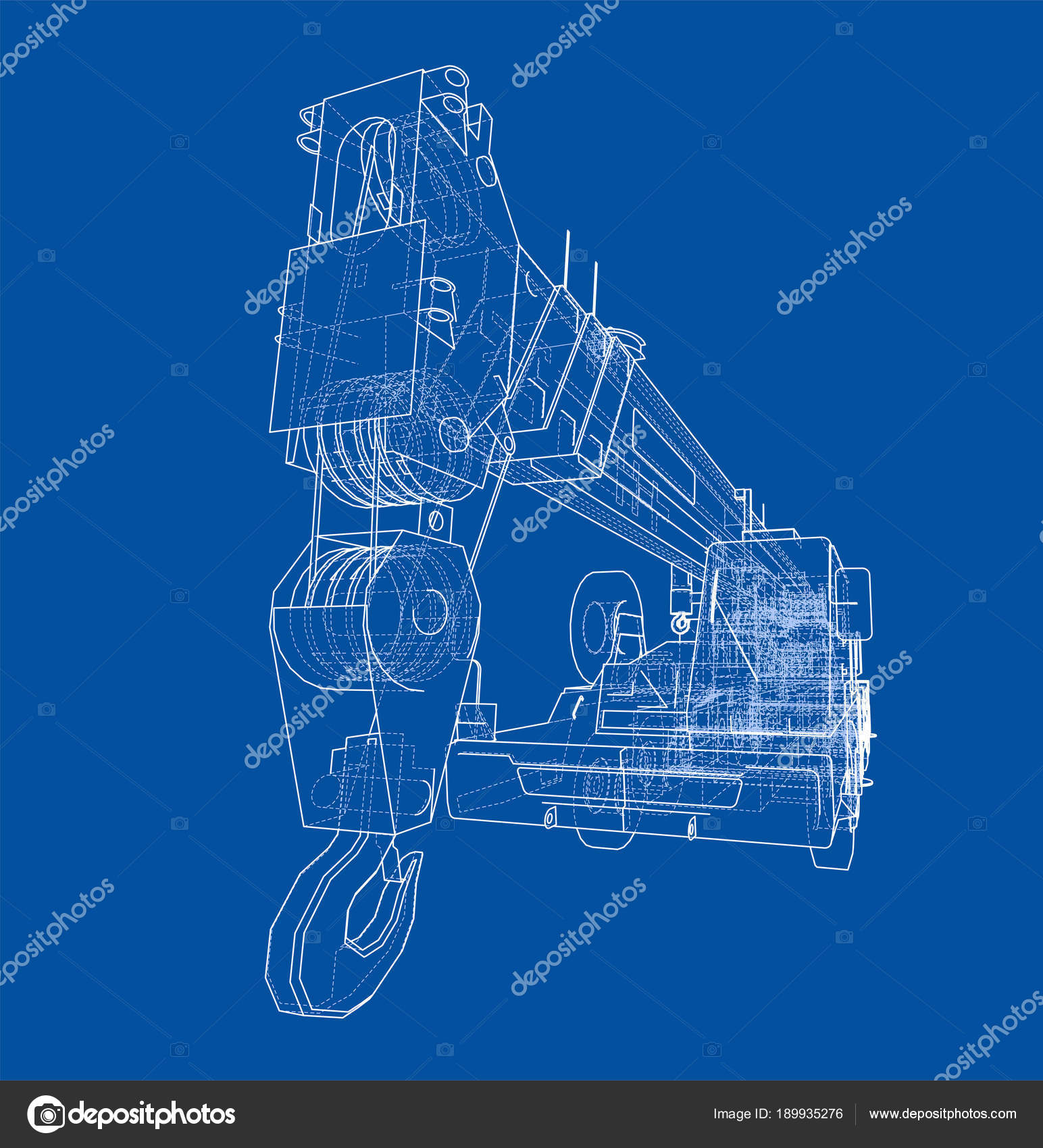 hight resolution of mobile crane blueprint stock photo