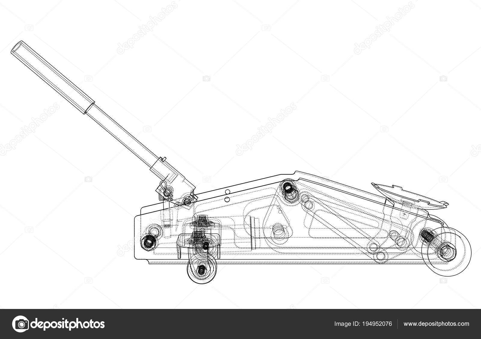 Hydraulic floor jack outline. Vector — Stock Vector