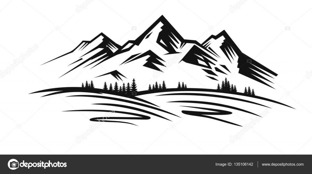 De montaña vector negro — Archivo Imágenes Vectoriales