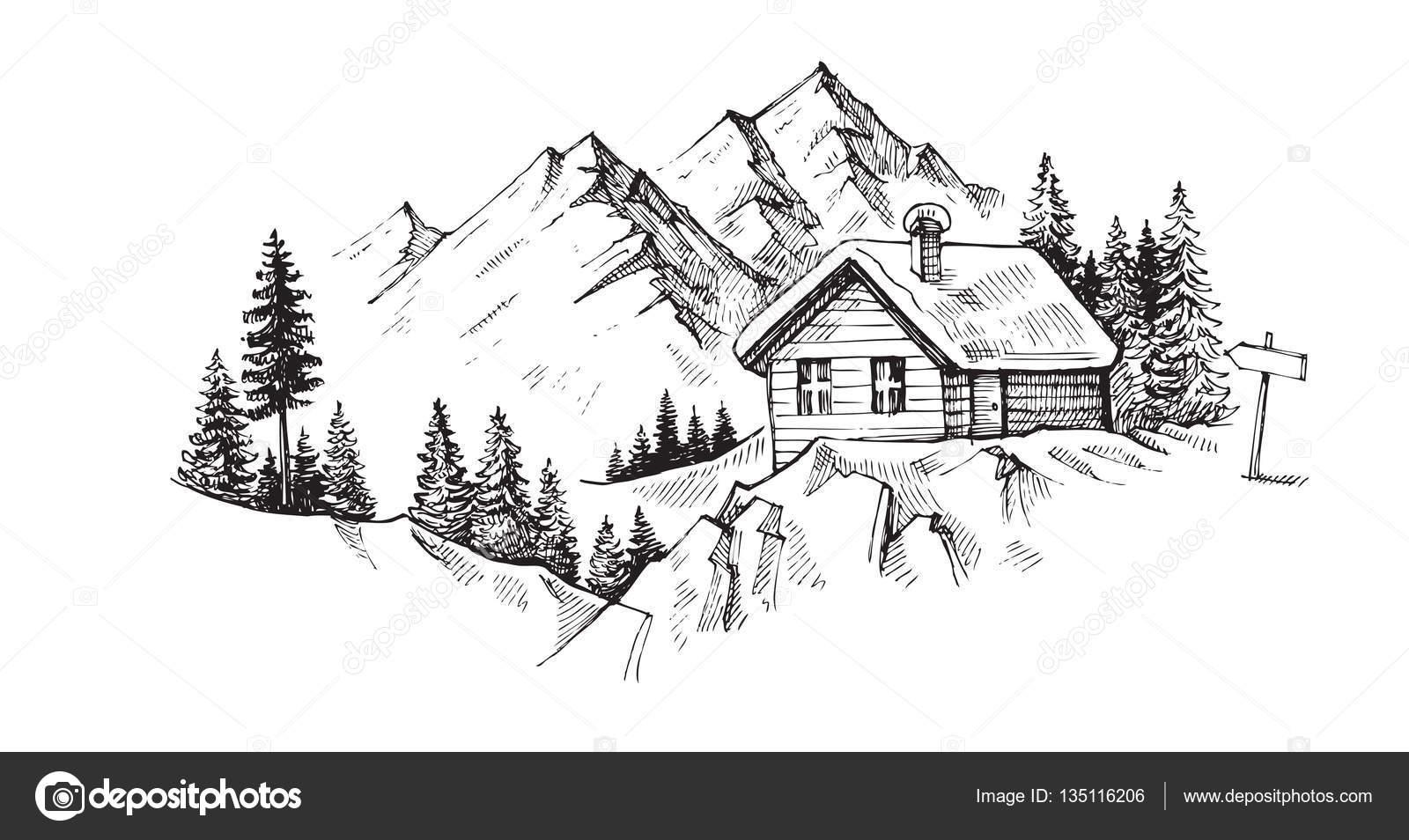 Hand Gezeichneten Berge