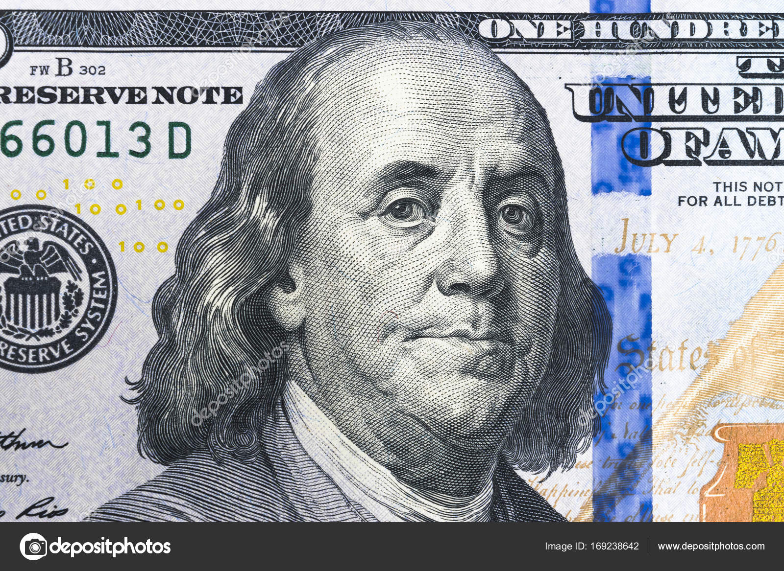 Close Up Overhead View Of Benjamin Franklin Face On 100 Us