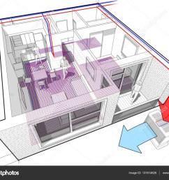 apartment diagram with underfloor heating and heat pump stock illustration [ 1024 x 804 Pixel ]