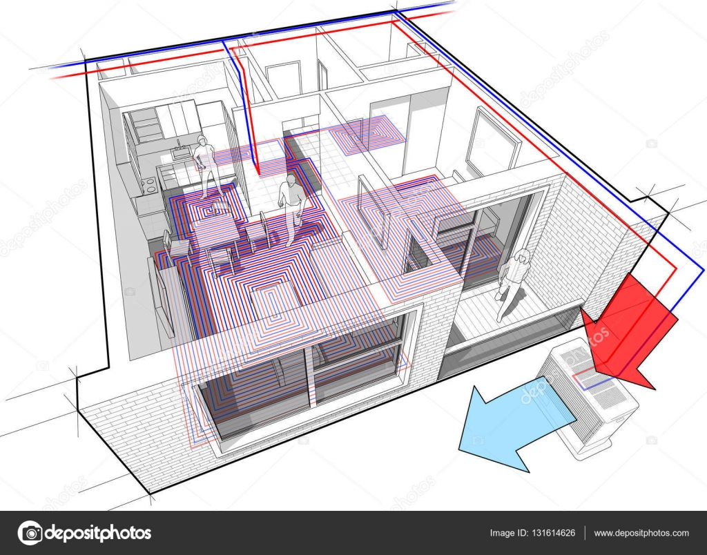 hight resolution of apartment diagram with underfloor heating and heat pump stock illustration
