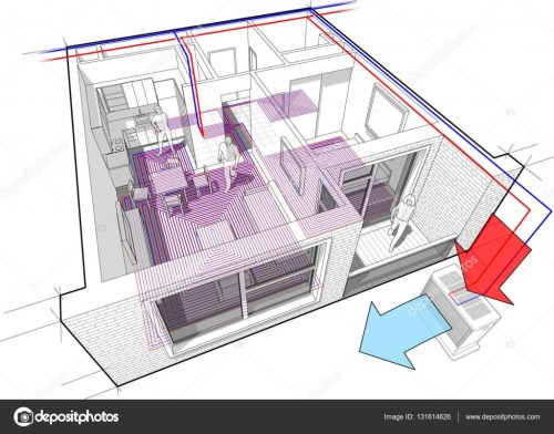 small resolution of apartment diagram with underfloor heating and heat pump stock illustration