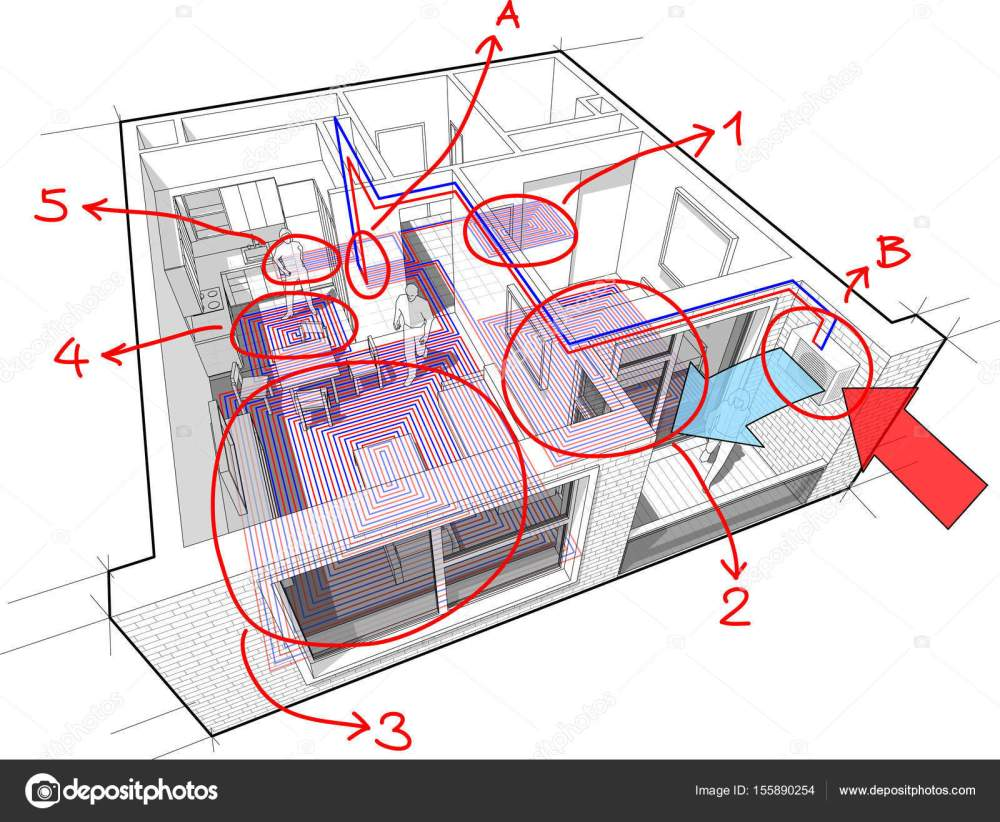 medium resolution of apartment diagram with underfloor heating and gas water boiler and air conditioning and hand drawn notes stock illustration
