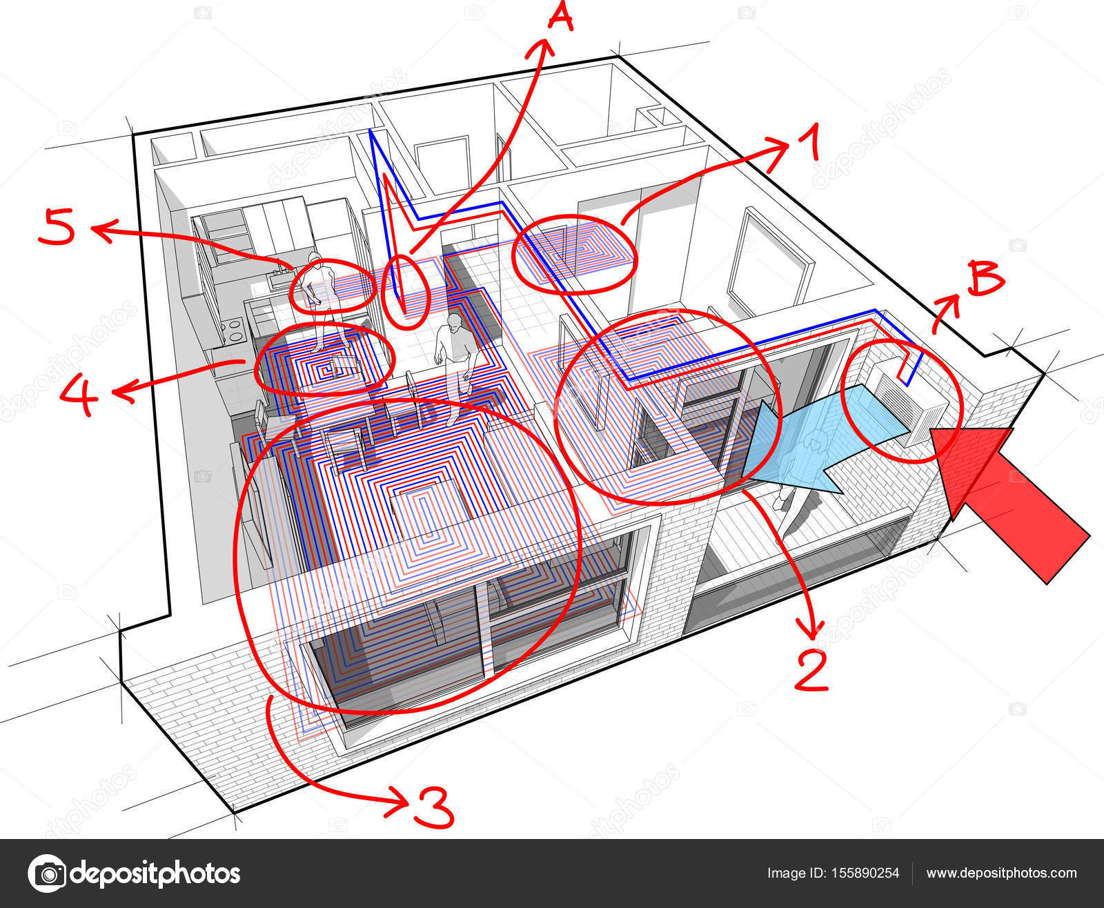 hight resolution of perspective cutaway diagram of a one bedroom apartment completely furnished with hot water underfloor heating and gas water boiler as source of energy for