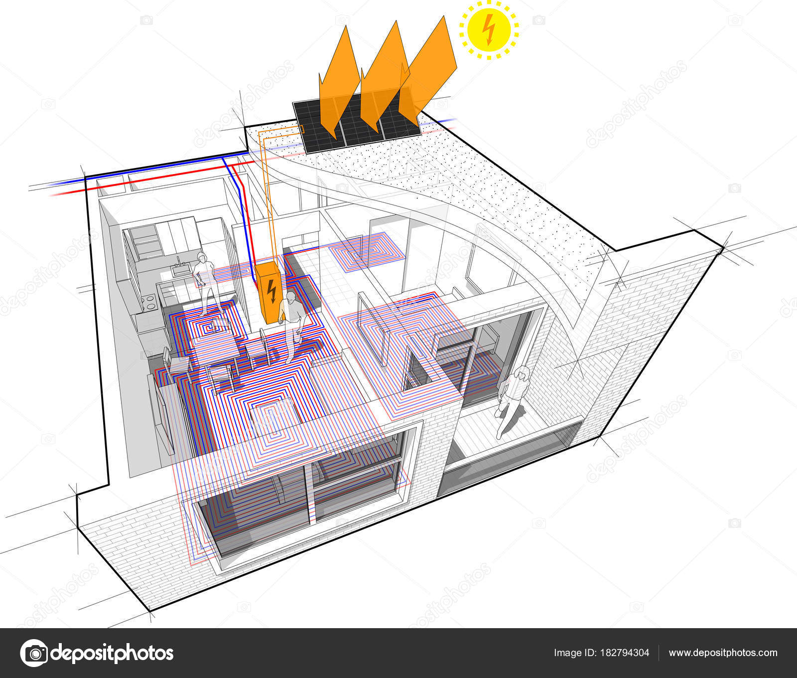 hight resolution of perspective cutaway diagram of a one bedroom apartment completely furnished with hot water floor heating and central heating pipes as source of heating