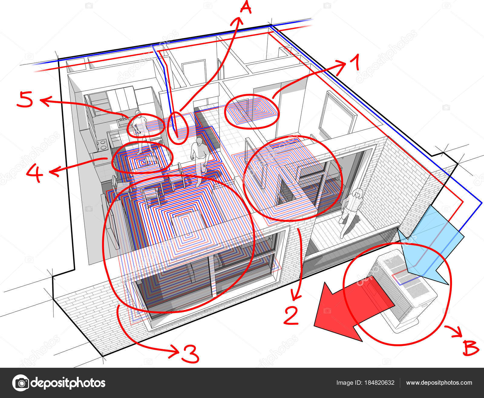 hight resolution of perspective cutaway diagram of a one bedroom apartment completely furnished with hot water underfloor heating and air source heat pump with central heating