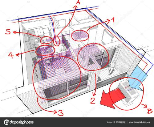 small resolution of perspective cutaway diagram of a one bedroom apartment completely furnished with hot water underfloor heating and air source heat pump with central heating
